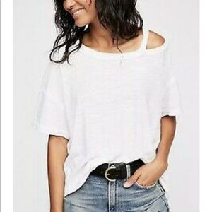 New Free People White Alex Tee Small